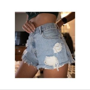 High Waisted Destroyed Levi's